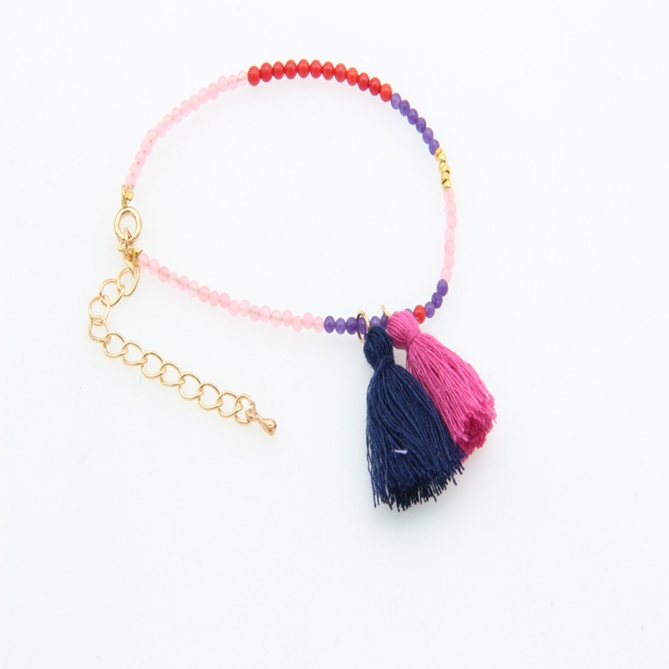 Colorful Agate Beads Hanging Silk Tassels Bracelets Original Ethnic Jewelry