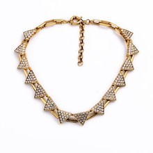 Newest charm gold plated triangle shape diamond Necklace