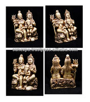 "10pcs Hand Carved Meditating God Shiva Parvati and Nandi Ganesh Resin Wall Hanging Statue Size 5""x4"" wholesale lot"