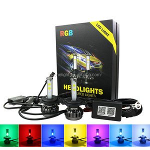 2018 V18 Updated Design H4 LED Headlight H13 9004 9007 Headlight RGB Color Changeable LED Car Headlight With Bluetooth Control