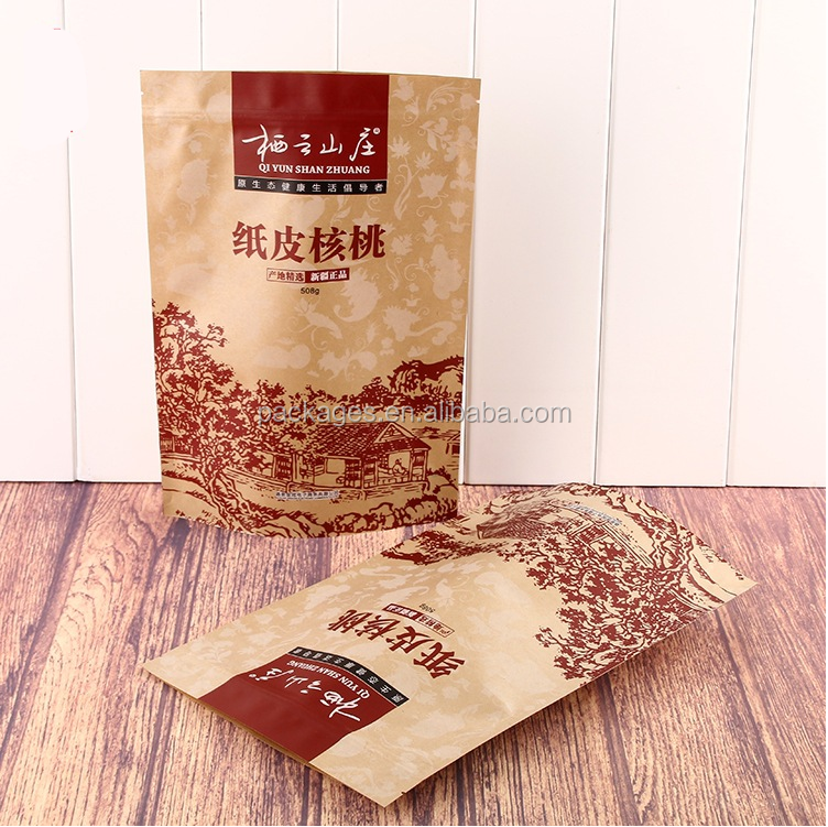 High quality brown kraft paper bags dried food packaging bag kraft paper bags lined aluminum foil