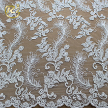 LF-390 Brocade Feather Design Hand Embroidery Wedding Dress Beautiful Italian Lace Fabric