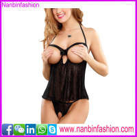 newest design black open cup babydoll sexy nude teddy lingeries