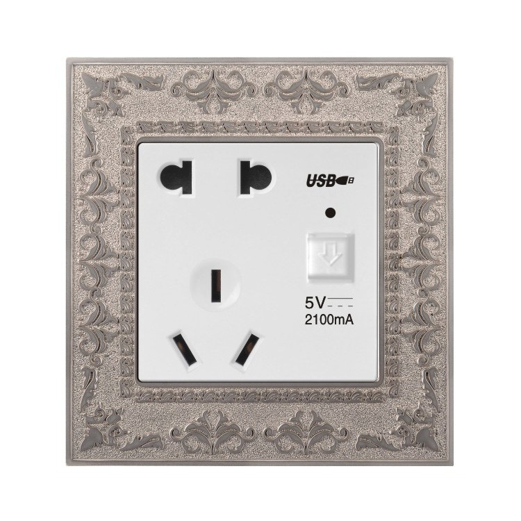 electrical wall PC material zinc socket outlet safe 2 pin & 3 pin socket with single USB
