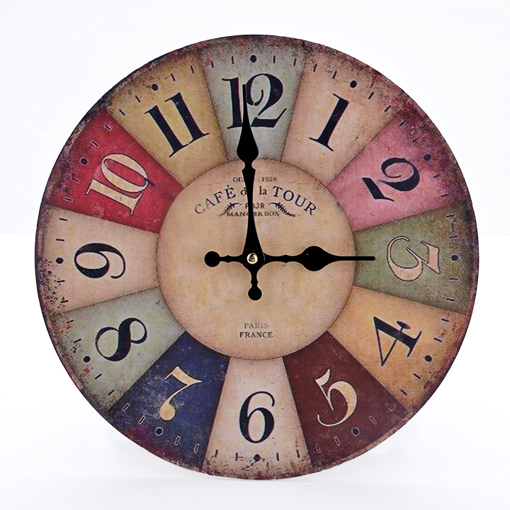 "12"" Vintage Style France Paris Colorful French Country Style Paris Wood Wall Clock SV006826"
