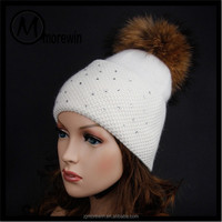 Morewin Brand custom new drsign bling bling knit hats women pom poms beanie hats