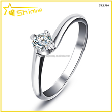 SR8586 wholesale silver jewelry simple wedding ring with zircon rhodium plated joyas de plata por mayor