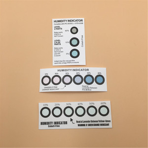 color change brown to azure moisture sensitive humidity indicator card