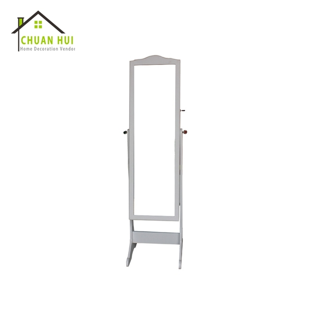 Cosmetic white free stand modern jewelry armoire cheval mirror