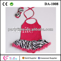 Red halter top zebra-stripe bottom baby romper dress child dress with bow headband