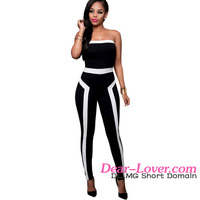 Beautiful Hot Sexy Women White Trim Strapless Black Evening Formal Jumpsuit