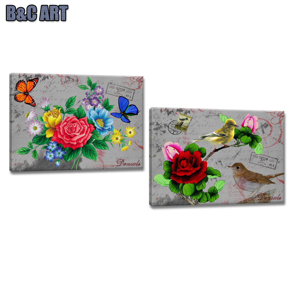 2 Pieces Decorative Wall Picture Rose Flower Painting Designs on Fabric Canvas
