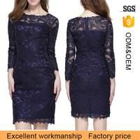 Women sexy full linlingtight fitting long sleeve lace bodycon dress