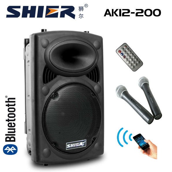 AK12-200 12 Inch Wireless Portable bluetooth pa system with VHF Mics & Headset
