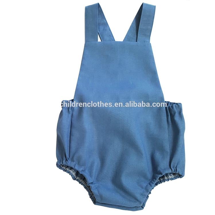 Fashion Kids Clothing Small Size Summer Clothes Plain Dyed Blue Baby Boys Romper