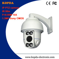 "ptz network ip camera 10X optical zoom Sony 1/2.8""CMOS,1.3MP IR distance 50M Middle speed dome"