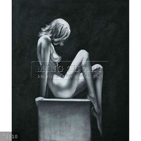 Handpainted nude body oil painting gallery,black and white