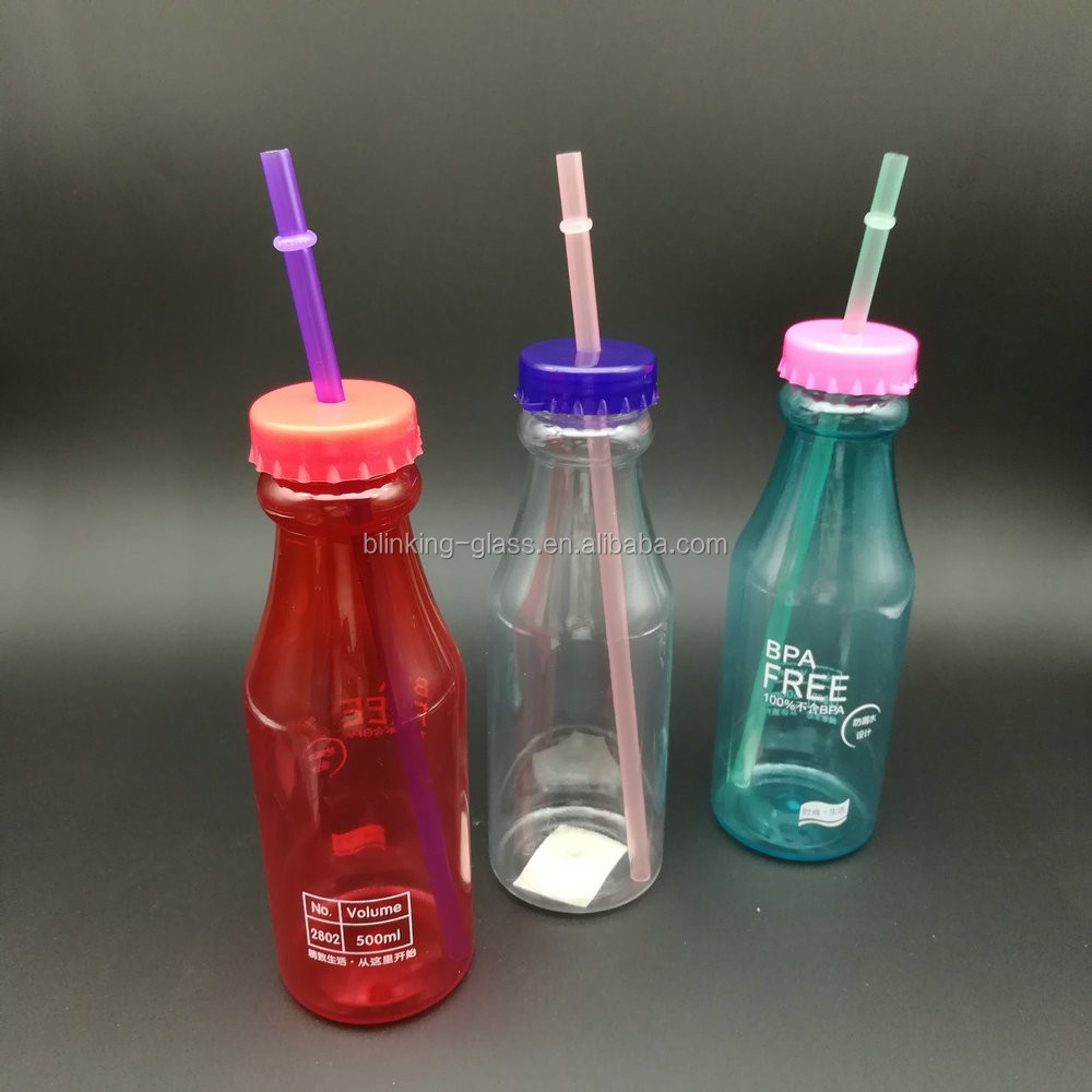 Hot sell 16oz pet bottles for beverage with lid and straw
