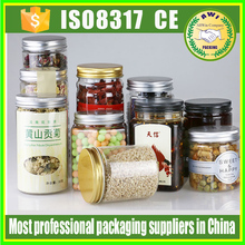 350ml 500ml peanut butter plastic jars fancy 300ml clear round plastic PET can for tea packing