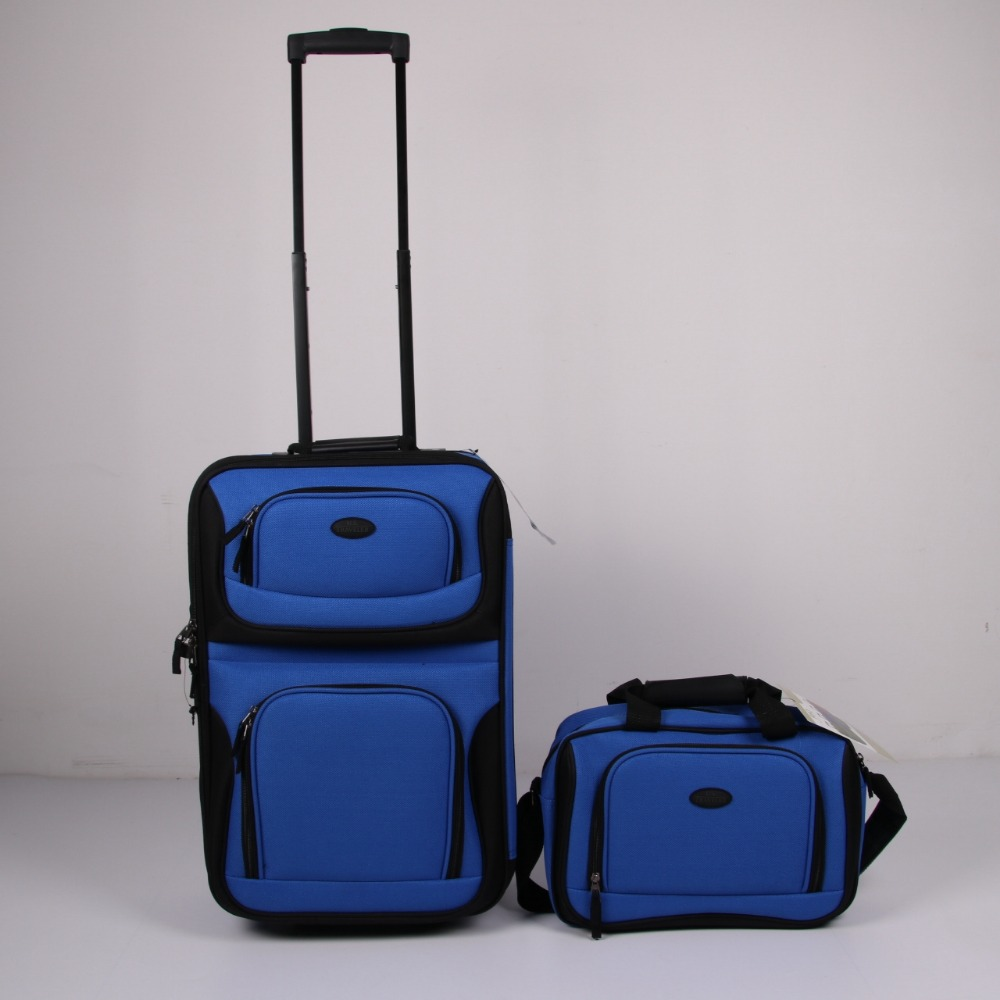 "Stock cheap price 2pcs trolley luggage bag 20""cabin trolley with 13"" tote bag polyester suitcase build in 2 wheels travel case"