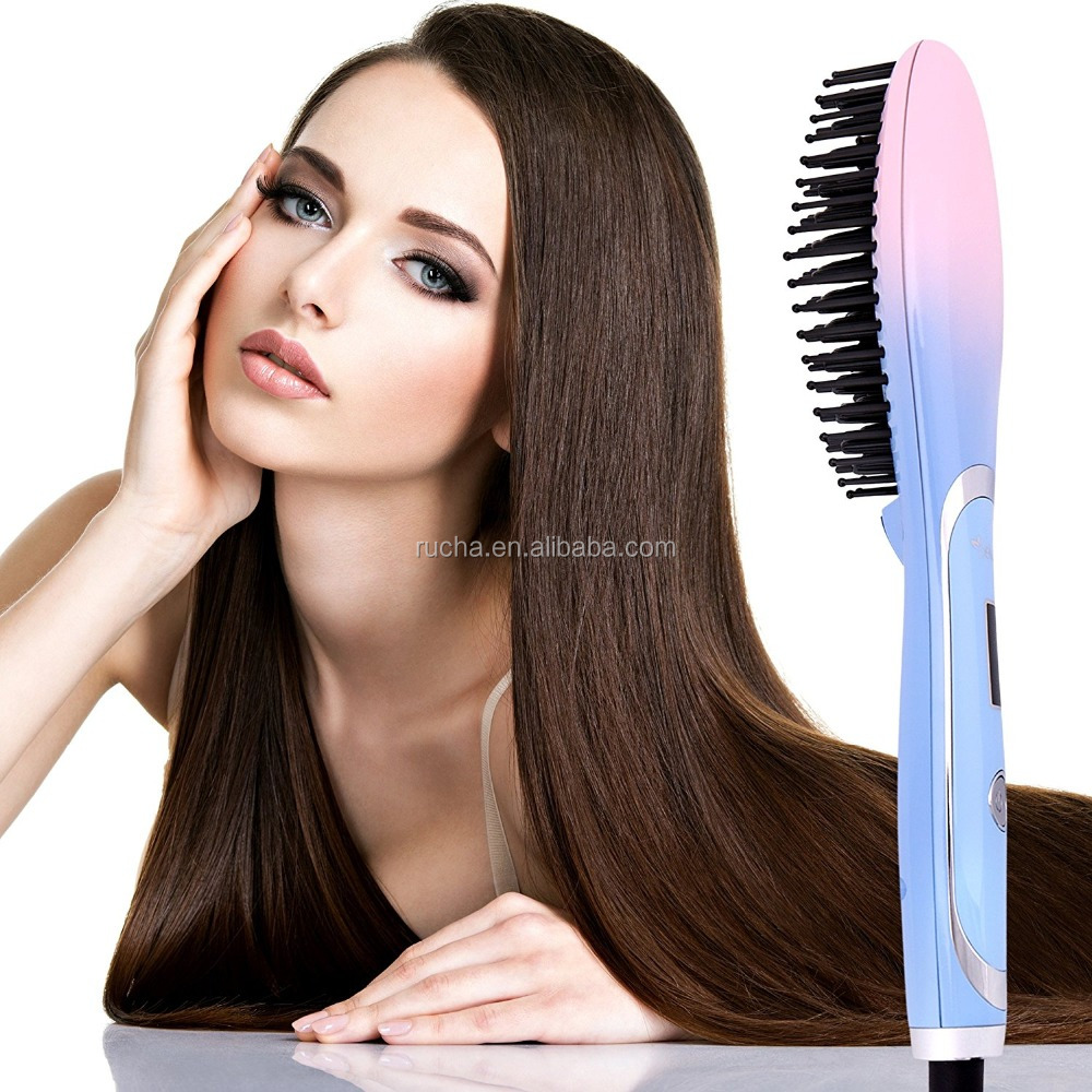 Free Sample OEM Best Selling Item PTC heater Professional Electrical Comb Ventilated Straightening Brush Fast Hair Straightener