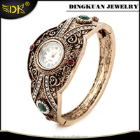 elegance fashion watches stainless steel back watch jewelry antique gold filled watch bangle