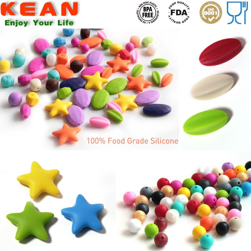 China Supplier BPA Free Food Grade Loose Silicone Teething Beads for Jewelry/Fine Jewelry Beads Silicone