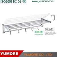 decorative 304 stainless steel foldable kitchen towel bar with row hooks
