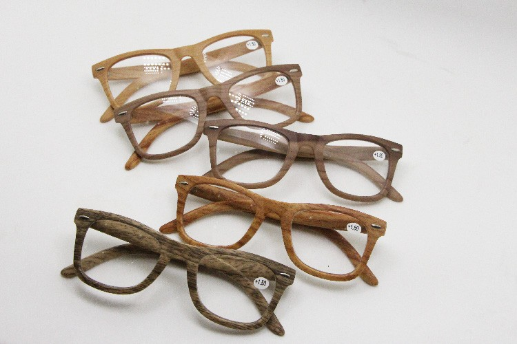 promotion fashionable wood bamboo grain reading glasses meet CE