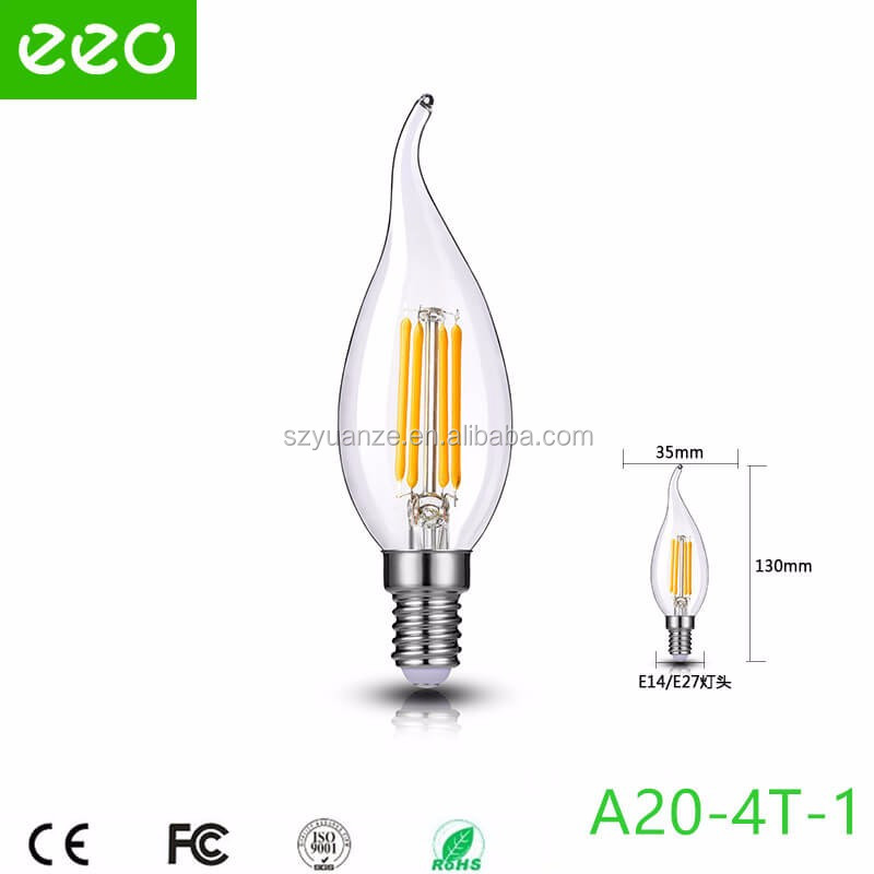 tip candle led filament bulb, 4w candle led filament lamp