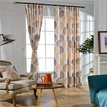 Best home fashion printed poly/linen mixed curtains for sliding window drape