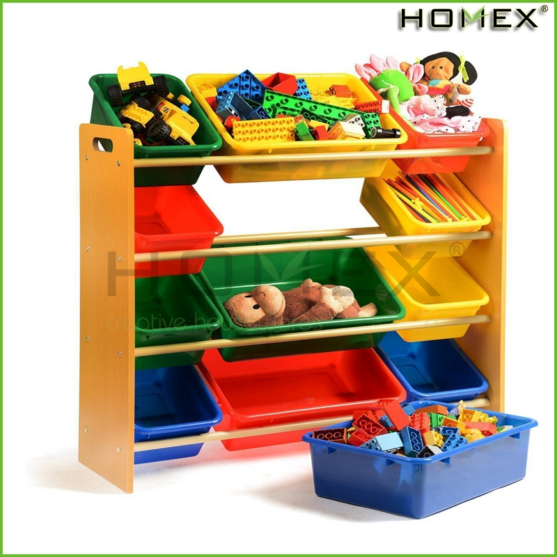 Wood toy storage organizer with colorful plastic box Homex_BSCI Factory
