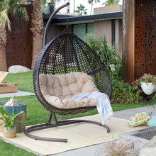 Hanging Double seat Resin Wicker swing Egg Chair & Stand & Cushion