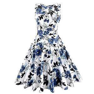 APHACATOP Custom Retro Floral Sleeveless Picnic Women Vintage Luxury Dress