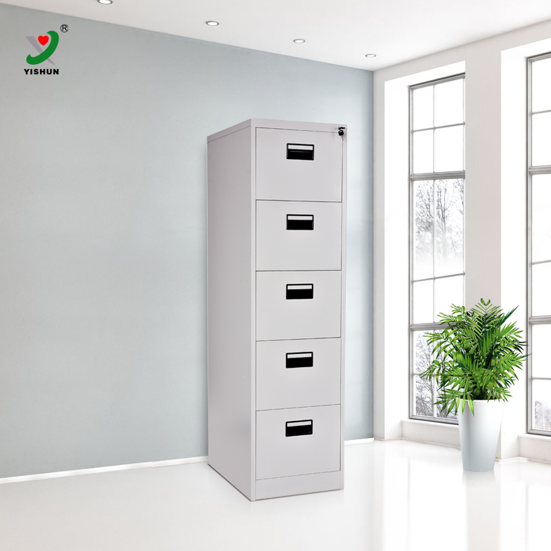 Iron or steel vertical file cabinet with 5 drawers