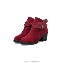 New Fashion Autumn Winter Women Ankle Boots Medium Square Heels Suede Martin Boots Pointed Toe Buckle Boots Shoes For Women