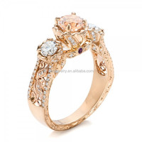 Custom AAA CZ Morganite and Amethyst Engagement Hand Engrave Ring (PES6-848)