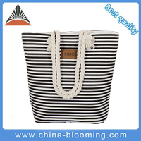 Fashion Women Custom Printed Foldable Rope Handle Canvas Beach Tote Bag