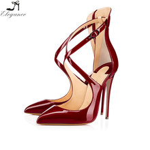 2017 New Style Women Shoes Black Patent Leather Ladies Party Wear Stiletto High Heel Chappals Cross Strap Buckle Summer Sandals