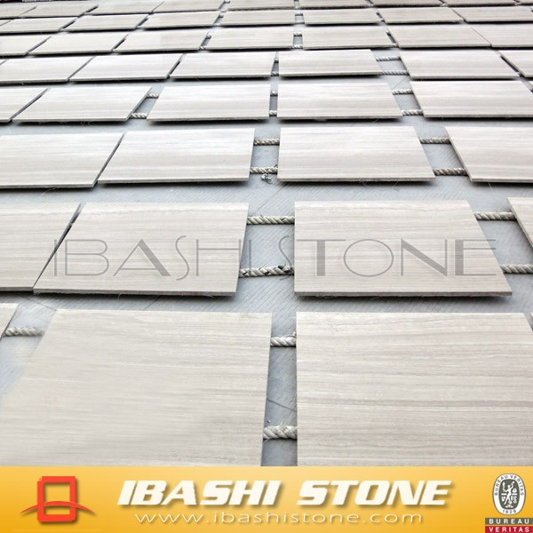China White Wood Marble Polished tiles for flooring and wall cladding