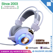 Vibration sound gaming headset computer game headphone with Mic LED Light