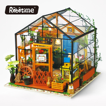 Robotime diy doll house Cathy's Flower House diy house with LED light For Gifts