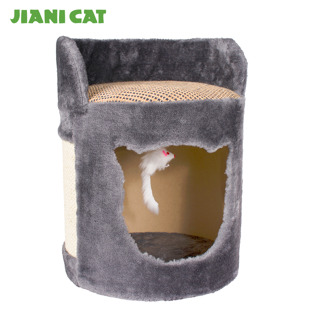grey cat shaped artificial scratcher house with white bird toy