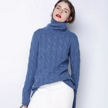 2017 Relaxed-Fit knitted Turtleneck women wool Sweater