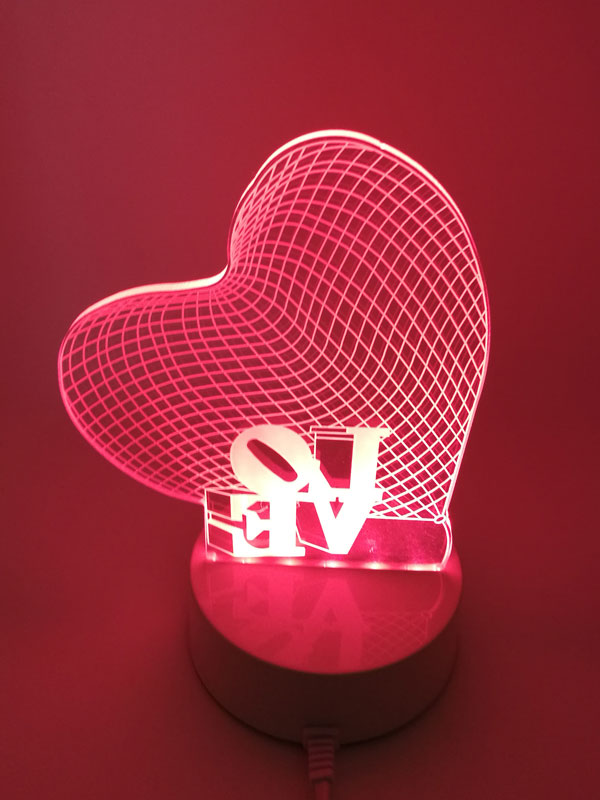 3 Color Changing Romantic LOVE Heart acrylic 3D LED Plug in Night Light