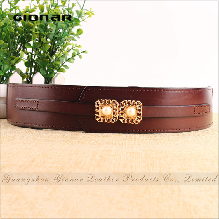 Taobao Hot-selling Women Elastic Dress Pearl Decorative Genuine Leather Belt
