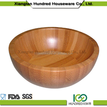 Natural bamboo material product flat round shape fruit bowl made of bamboo
