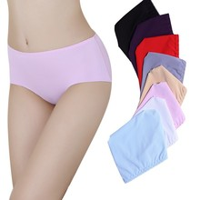Pure Color Simple Design Silk Ice Office Ladies Panty Girls Panty Comfortable Women Briefs Seamless Panties