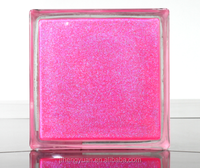 inner pink transparent hand-made coloured glass brick
