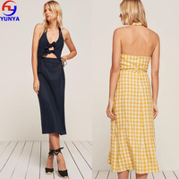 OEM service supply type linen fabric midi bodycon wrap girl's cocktail dress